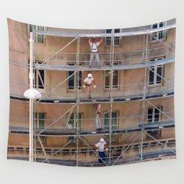 Men On Scaffolding Wall Tapestry