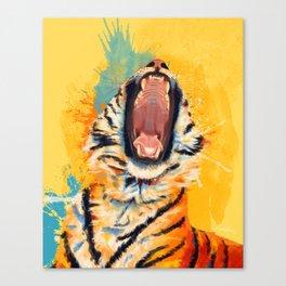 Wild Yawn - Tiger portrait Canvas Print