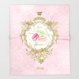 French Patisserie Macarons Throw Blanket