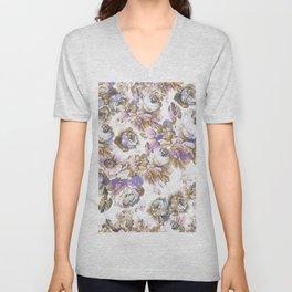 Bohemian vintage rustic brown lavender floral Unisex V-Neck