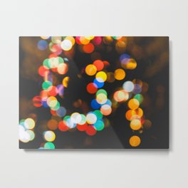 Christmas lights bokeh Metal Print