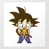 dragonball Art Prints featuring Young Goku with dragonball by Samtronika