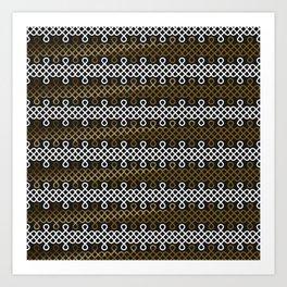 Endless Knot pattern - Gold & white Art Print