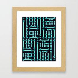 Geometric Cyan Circuit Framed Art Print