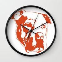 pitbull Wall Clocks featuring COACH - ORANGE by Kirk Scott
