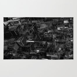 Night city glow B&W / 3D render of night time city lit from streets below in black and white Rug