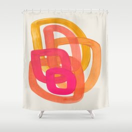 Funky Retro 70' Style Pattern Orange Pink Greindent Striped Circles Mid Century Colorful Pop Art Shower Curtain