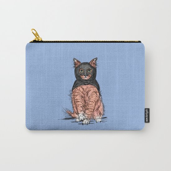 Periwinkle Pink Bat Cat Carry-All Pouch