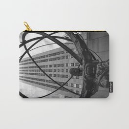 Atlas Outside of Rockefeller Center in Black and White Carry-All Pouch