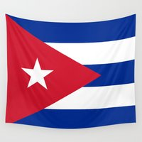 soviet Wall Tapestries featuring National flag of Cuba - Authentic version by Bruce Stanfield