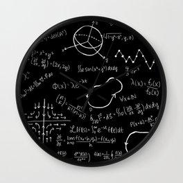 Chalkboard Math Equations Wall Clock