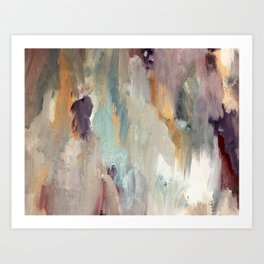 Gentle Beauty [4] - an elegant acrylic piece in deep purple, red, gold, and white Art Print