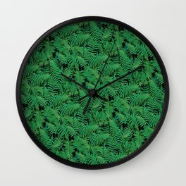 Deep Green Nostalgic Fern Grid Pattern Wall Clock