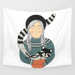 Girl and Raccoon. Wall Tapestry