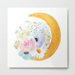 moon and  flowers arrangement watercolor  Metal Print