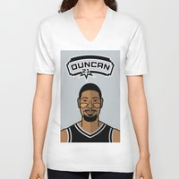 tim shumate V-neck T-shirts featuring Tim Duncan by Will Wild