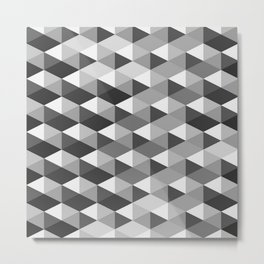Black and White Triangle Weave Pattern Metal Print