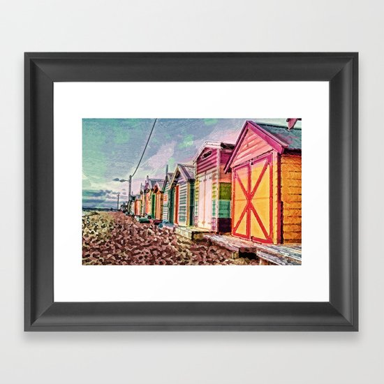 Painted Beach Huts Framed Art Print
