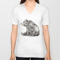 animals V-neck T-shirts featuring Bear // Graphite by Sandra Dieckmann