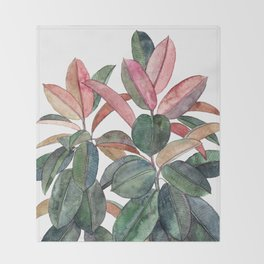 Rubber Plant Throw Blanket