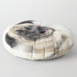 Smiling pug.Funny pug Floor Pillow