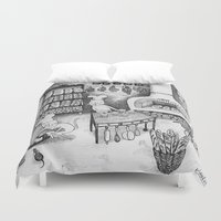 baking Duvet Covers featuring Baking Cats by Ulrika Kestere