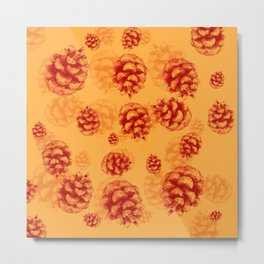 Conifer cone pattern - orange Metal Print