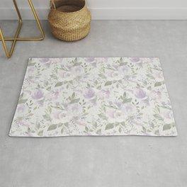Mauve green lavender blush watercolor boho floral Rug