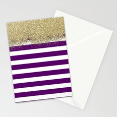 Purple and White Stripes Faux Gold Glitter Stationery Cards