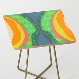 Shapes and Layers no.25 - Abstract painting Blue, Green, pink, yellow orange Side Table