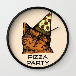 Pizza Party Cat: Funny Animal Kitty Wall Clock