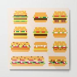 Pixel Hamburgers Metal Print