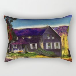 Home in the Mountains, Autumn landscape painting by George Wesley Bellows Rectangular Pillow