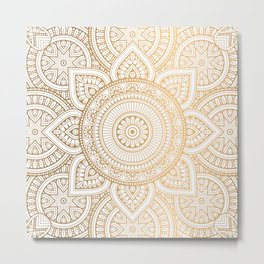 Gold Mandala Pattern Illustration Metal Print