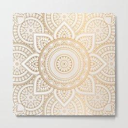 Gold Mandala Pattern Illustration With White Shimmer Metal Print