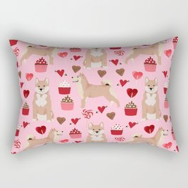 Shiba Inu dog breed love cupcakes hearts valentines day pet gifts Shiba inus Rectangular Pillow