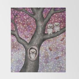enchanted owls, moths, stars Throw Blanket