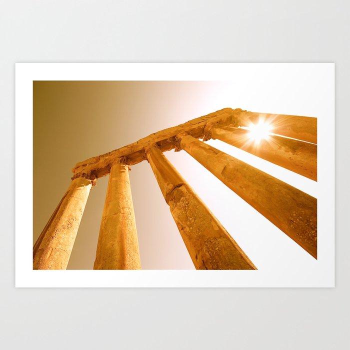 Sun Rays through Columns Art Print