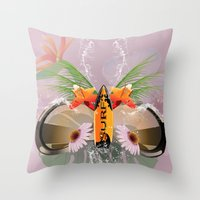 surfboard Throw Pillows featuring Surfing, sunglasses with surfboard  by nicky2342