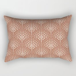 Creamy Off White SW7012 Polka Dot Scallop Fan Pattern on Cavern Clay SW 7701 Rectangular Pillow