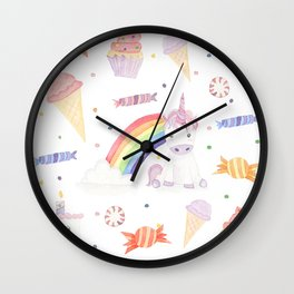 Kawaii Unicorn with Candy and Rainbows Wall Clock