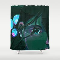 little mermaid Shower Curtains featuring Little Mermaid by David Lanham