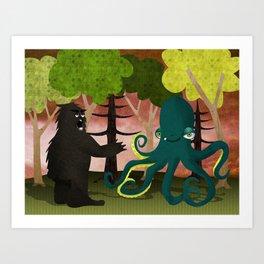 octopus vs sasquatch Art Print