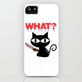 """Happy Halloween Shirt For October November Cat Animal Animals """"What?"""" T-shirt Design Creepy Spooky iPhone Case"""