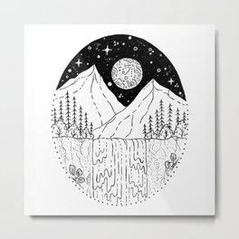 Mountainous Woodland Waterfall Scene Metal Print