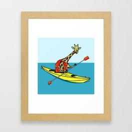Giraffe Sea Kayaking Framed Art Print