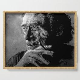 Charles Bukowski - black - quote Serving Tray