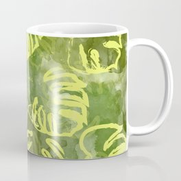 oil green palm leaves pattern Coffee Mug