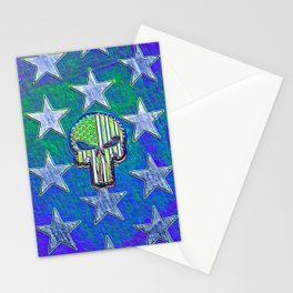 Neon Glow Skull and Stars Stationery Cards