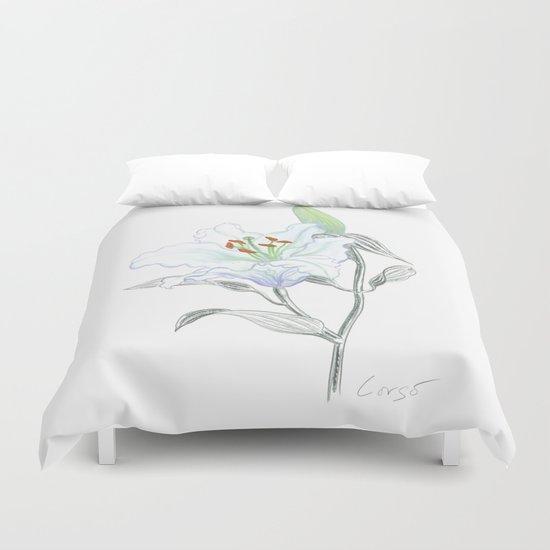 Lily 01 Botanical Flower * White Casablanca Lily Duvet Cover